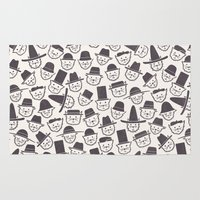 hats Area & Throw Rugs featuring Cats With Hats by Teo Zirinis