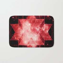 Red Galaxy Sacred Geometry: Rhombic Hexecontahedron Bath Mat