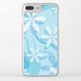Winter Blue Flower Christmas Clear iPhone Case