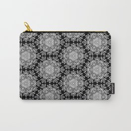 White mandalas on black Carry-All Pouch