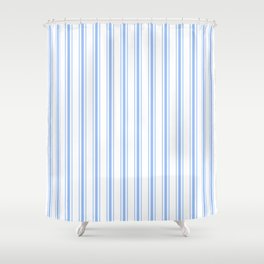 Mattress Ticking Wide Striped Pattern in Pale Blue and White Shower Curtain