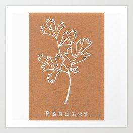 Parsley Art Print —Botanical Herb Print — White Ink Parsley Design Art Print