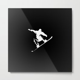 Snowboarding White Abstract Snow Boarder On Black Metal Print
