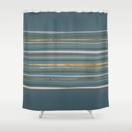 Blueprint and Stripes 2 Shower Curtain