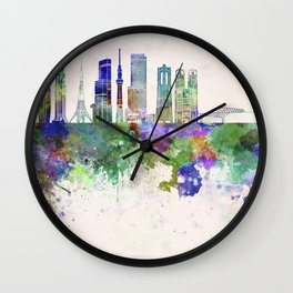 Tokyo V3 skyline in watercolor background Wall Clock