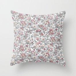 Busy Day in Spring Apple Garden Throw Pillow