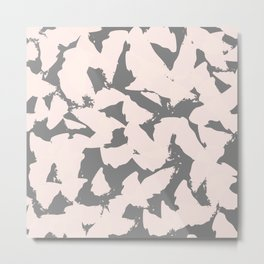 Pastel Pink Bird Wings on Grey Metal Print
