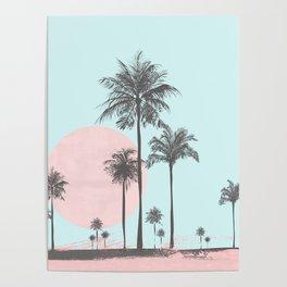 Beachfront palm tree soft pastel sunset graphic Poster