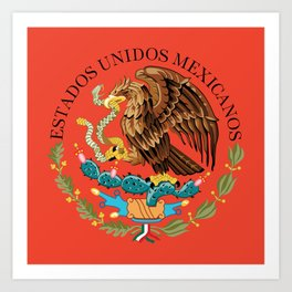 Mexican Flag seal on orange red background Art Print