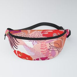 Tropical Foliage - Pink and Solar orange Fanny Pack