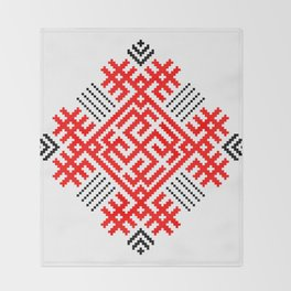 Rodimich - Antlers - Slavic Symbol #1 Throw Blanket