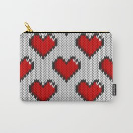 Knitted heart pattern - white Carry-All Pouch