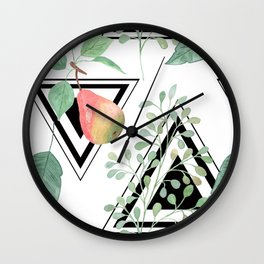 Pears, leaves geometric black and white background. Wall Clock
