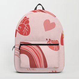 Hearts and rainbows valentines background Backpack