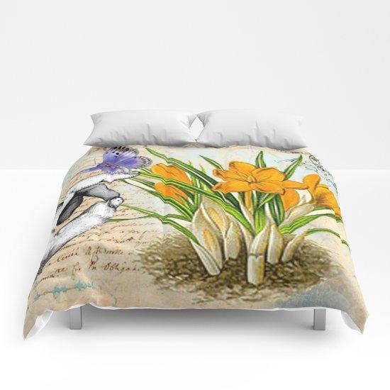 Vintage Crocus Flower #10 Comforters