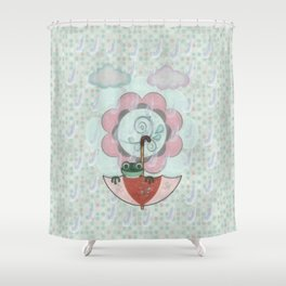 Rainy Day Frog Children's Art Shower Curtain