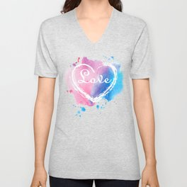 Stylish Love and Colorful Pastel Heart collection pink, blue, white colors and letter printed text Unisex V-Neck