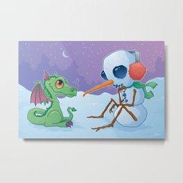Snowman and Dragon Metal Print