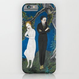 The Couple atop the Cliff portrait painting by Nils Dardel iPhone Case