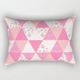 Quilt pattern triangles modern quilting gifts for girly floral lovers modern pink home Rectangular Pillow