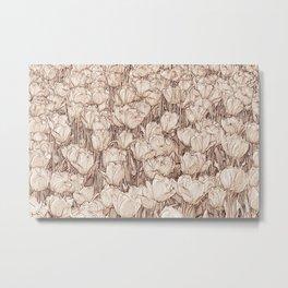 Tulips - sepia line art Metal Print