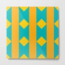 Pattern orange blue Metal Print