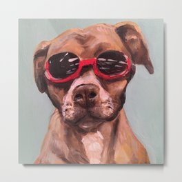 Doggles, the dog who wears goggles Metal Print