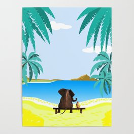 relaxing elephants by the beach Poster