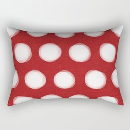 painted polka dots - red and white Rectangular Pillow