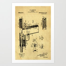 Browning Firearm Support Patent Drawing From 1911 Art Print