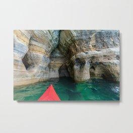 Red Kayak in Lake Superior Cave Metal Print