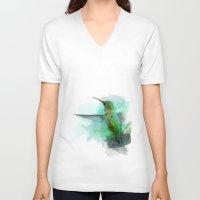 hummingbird V-neck T-shirts featuring Hummingbird by Marvelis