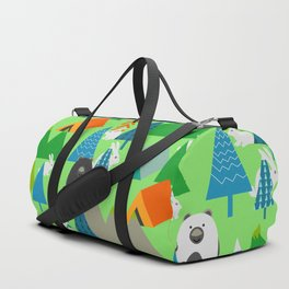 Forest with cute little bunnies and bears Duffle Bag