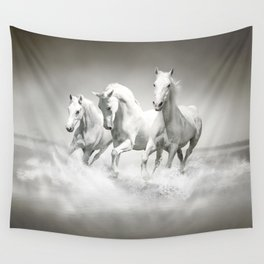 Wild White Horses Wall Tapestry