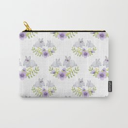 Purple lavender white bunny watercolor floral illustration Carry-All Pouch
