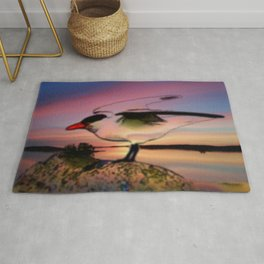 Sunset Take-off - Gull Painted with Sunset Colors Rug