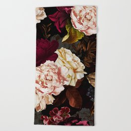 Vintage & Shabby Chic - Midnight Rose and Peony Garden Beach Towel