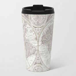 Antique Map in Soft Gray Travel Mug