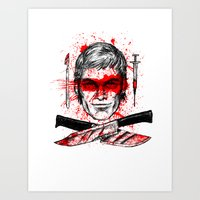 dexter Art Prints featuring Dexter by Jonah Makes Artstuff