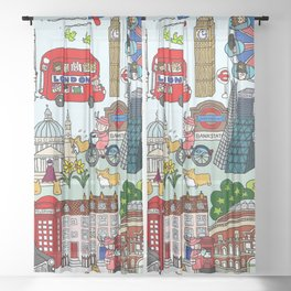 The Queen's London Day Out Sheer Curtain