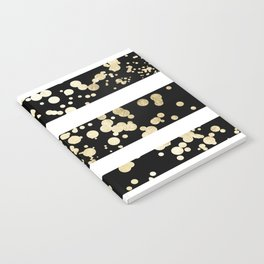 Stylish black and white faux gold confetti stripe Notebook