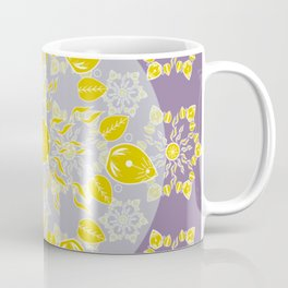 Goldenrod and Mauve Princess Patterned Mandala Textile Coffee Mug