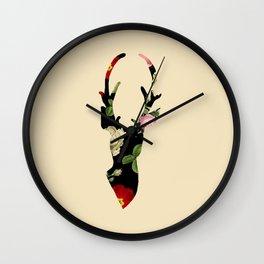 Flower Deer Silhouette Wall Clock