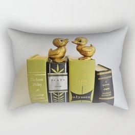 Ducks on Books - Green & Black Rectangular Pillow