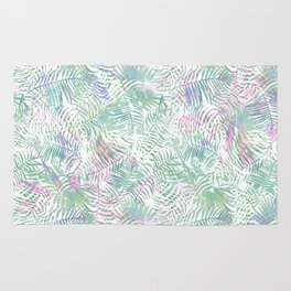 Pastel pink lavender green watercolor tropical leaves Rug