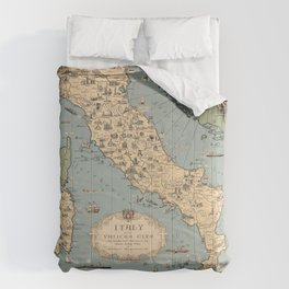 1935 Vintage Map of Italy and Vatican City Comforters