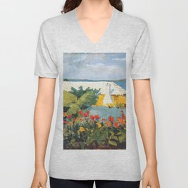 Flower Garden And Bungalow Bermuda 1889 By WinslowHomer   Reproduction Unisex V-Neck