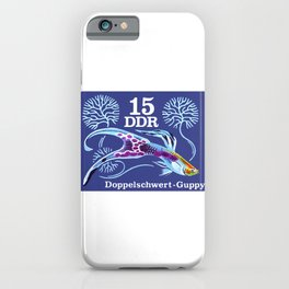 1976 East GERMANY Double Sword Guppy Postage Stamp iPhone Case