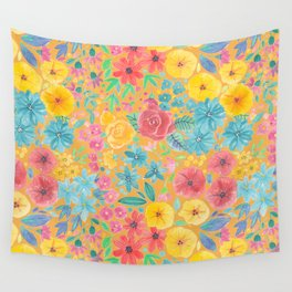 Floral watercolor pattern in yellow Wall Tapestry