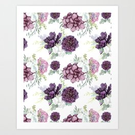 Succulents Deep Violet Lavender Pastel Green Lilac PatternSee Nature Magick for more pretty pastel c Art Print